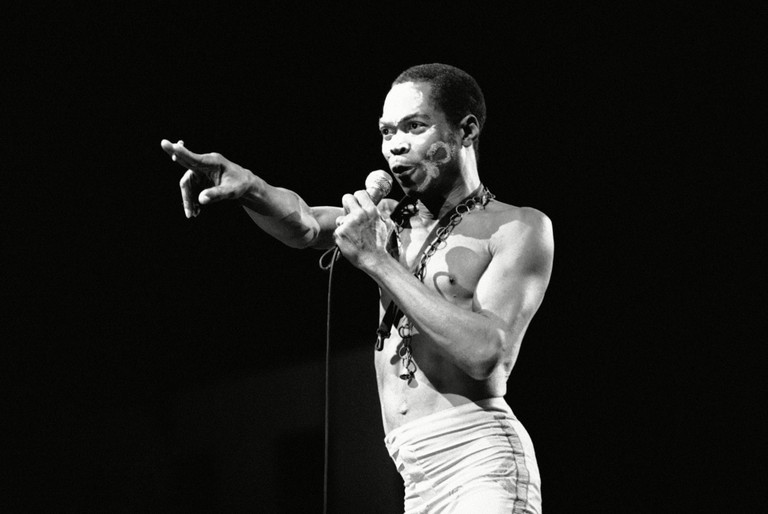 "Fela Anikulapo Kuti performs at the ""Party of Humankind"" of the French Communist Party at La Courneuve in Paris, France"