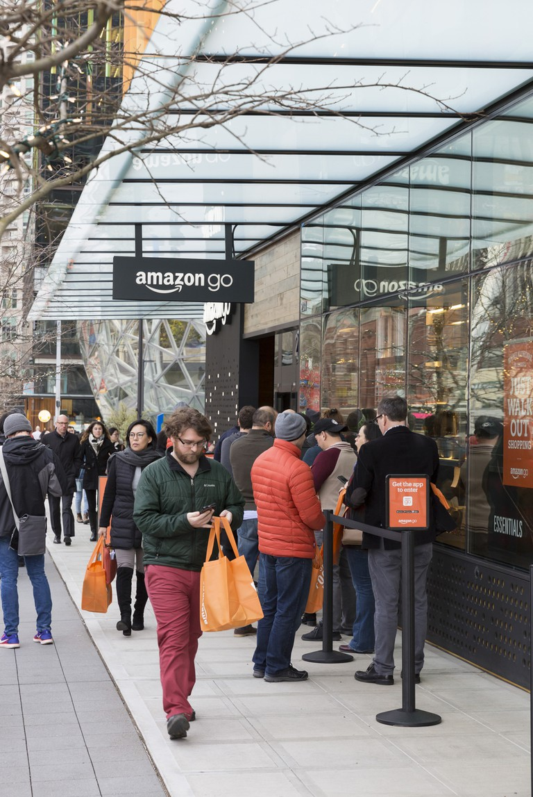 Amazon Go store opening, Seattle, USA
