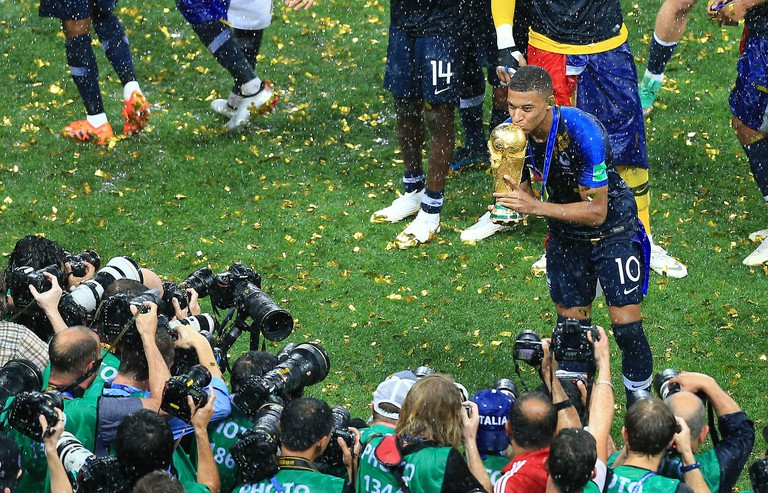 Kylian Mbappe of France with the World Cup