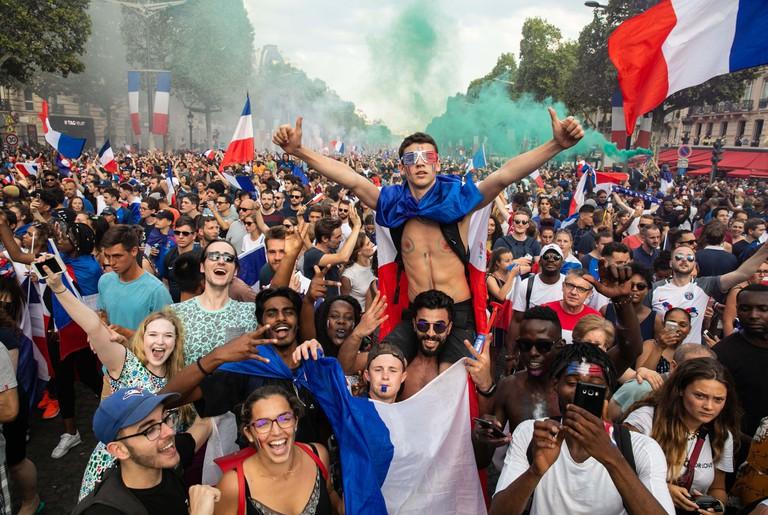 French fans watch France v Croatia, Final, 2018 FIFA World Cup, Paris, France