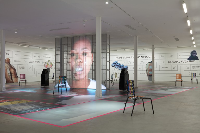 Installation view of Martine Syms's 'Grande Calme' at Sadie Coles HQ London