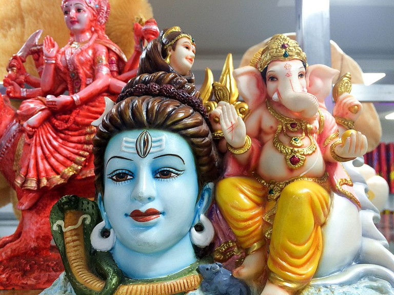Images of Lord Shiva, Goddess Parvati and their son, Lord Ganesha