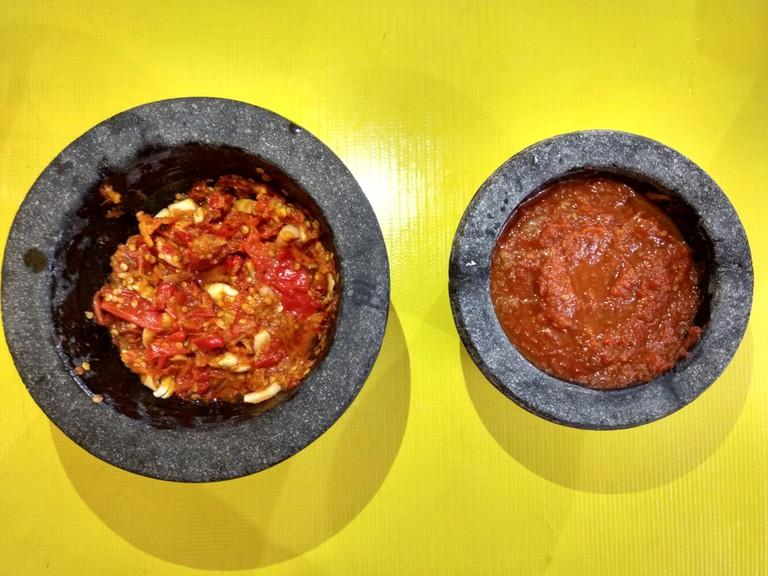 Sambal bawang and sambal tomat