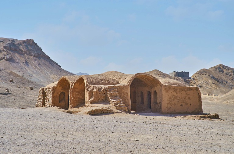 The Zoroastrian ceremonial Khaiele building among the rocky deserted hills in Towers of Silence archaeological site in Yazd, Iran.