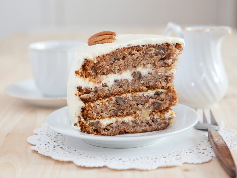 Hummingbird cake with pecans and cream cheese frosting