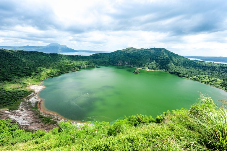 Lake crater at Taal volcano, Philippines.