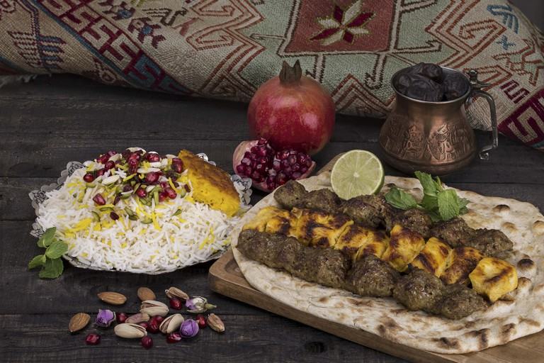 A traditional Persian dish with chicken and lamb meat known as shashlik kebab