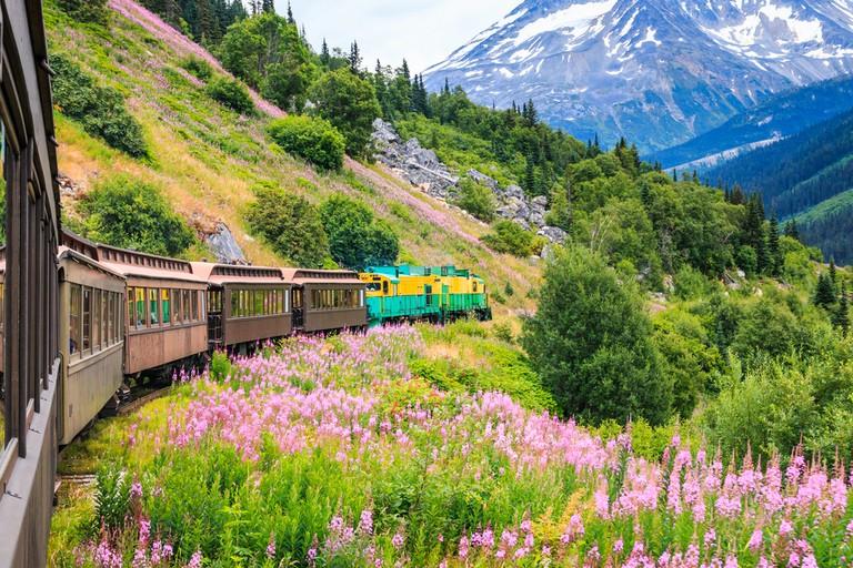 The scenic White Pass & Yukon Route Railroad, Skagway, Alaska