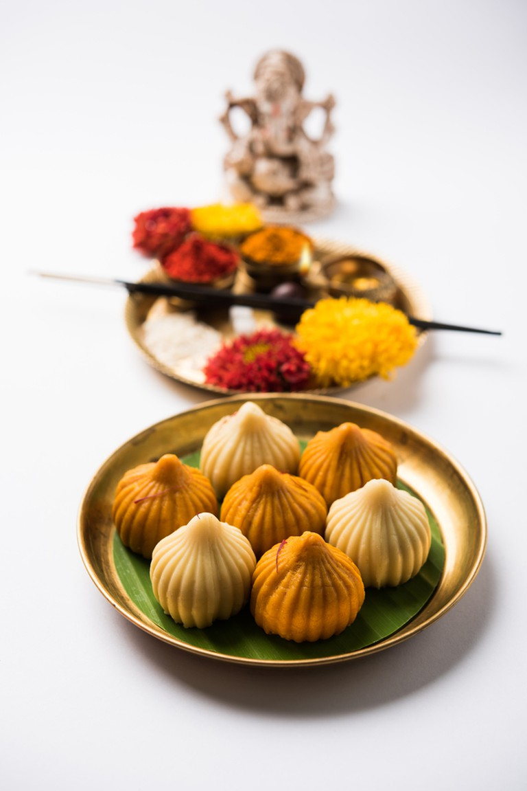 Modaks (sweet dumplings filled with jaggery and grated coconut) are believed to be Ganesha's favourite food
