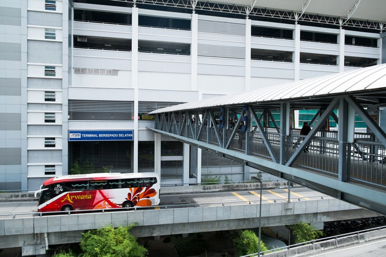 A pedestrian bridge at TBS Southern Integrated Terminal, Kuala Lumpur, Malaysia