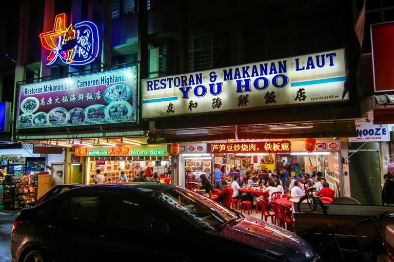Steamboat restaurants in Brinchang, Cameron Highlands, Malaysia.