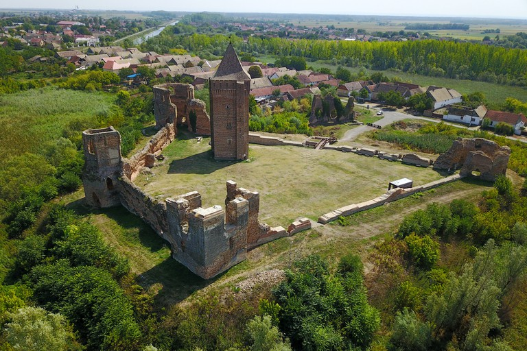 Air view of town and ruins of Bac fortress in Serbia