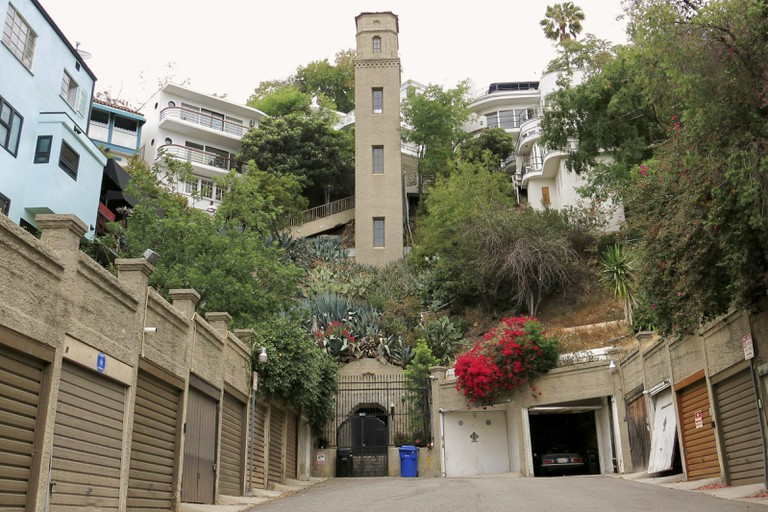 """High Tower,"" five-story private elevator--built 1920 in Bolognese style with stand-alone garages--is the easiest access to many Hollywood Heights homes."