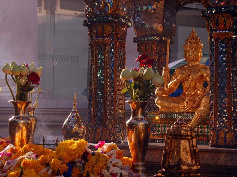 The Erawan Shrine hopefully pleases local spirits
