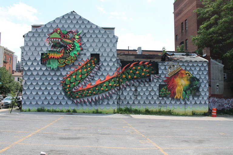 Dragon mural, Historic Chinatown, Park Avenue, Baltimore, Maryland