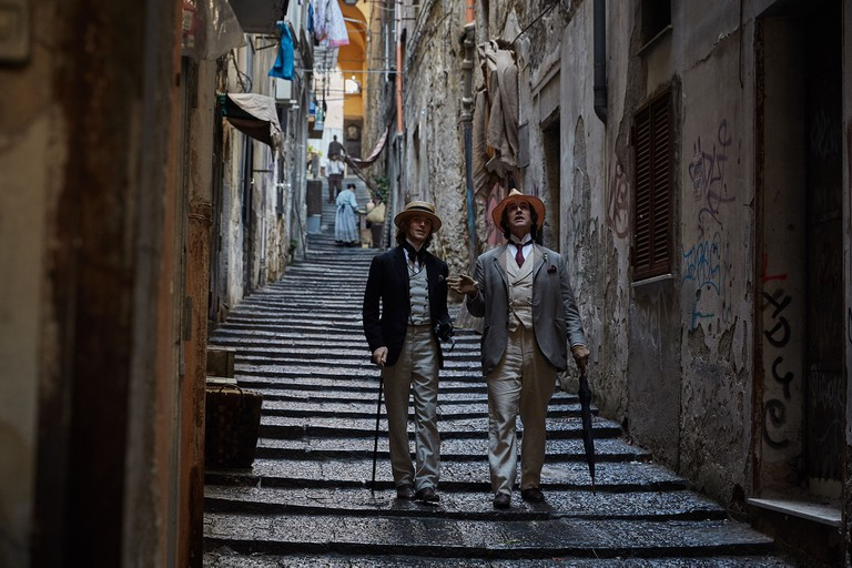 Lord Alfred Douglas (Colin Morgan) and Oscar Wilde (Rupert Everett) in Naples in 'The Happy Prince'