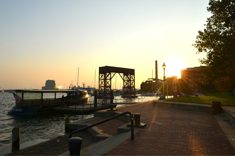 Canton Waterfront Park, Canton, Baltimore, Maryland, Sunset