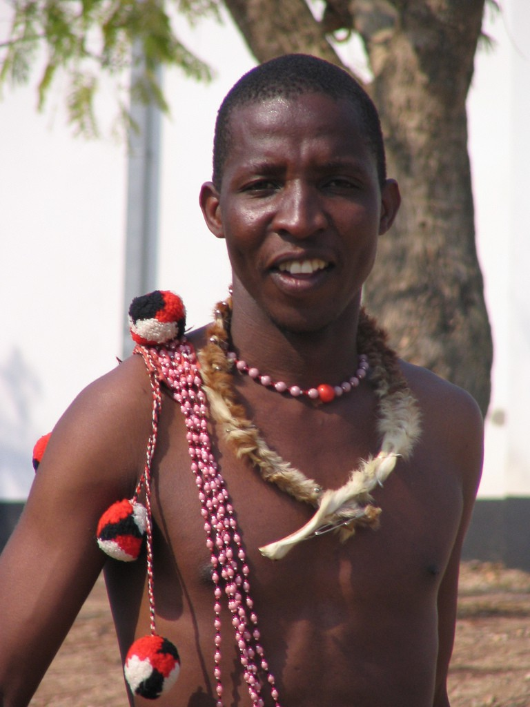 A Swazi man in traditional attire