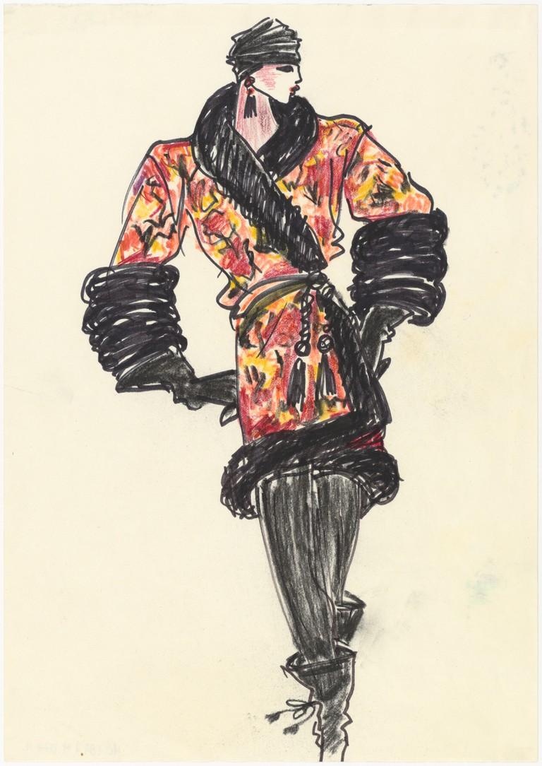 Croquis d'illustration d'un ensemble de soir, collection haute couture automne-hiver 1977, Musée Yves Saint Laurent Paris