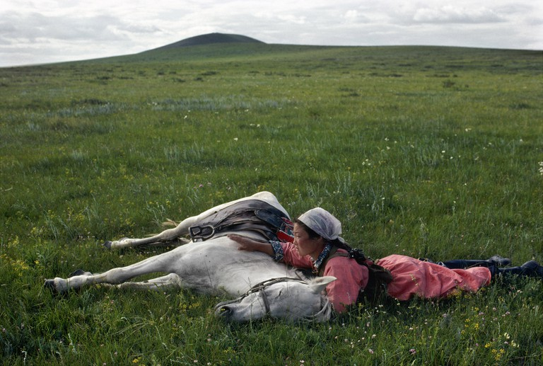 'Horse training for the militia' (1979) by Eve Arnold in Inner Mongolia