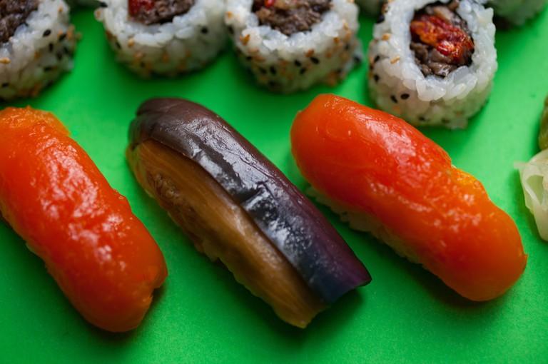 Bigeye Sushi-tomato _ eggplant sushi