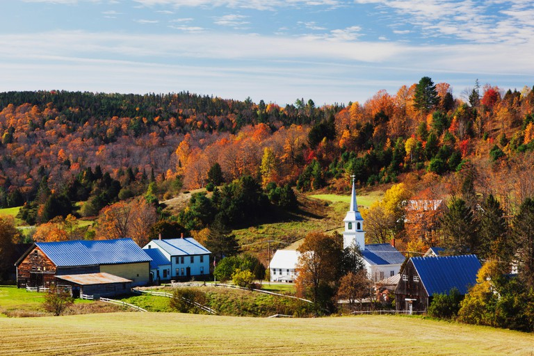 The small town of East Corinth, Vermont in autumn