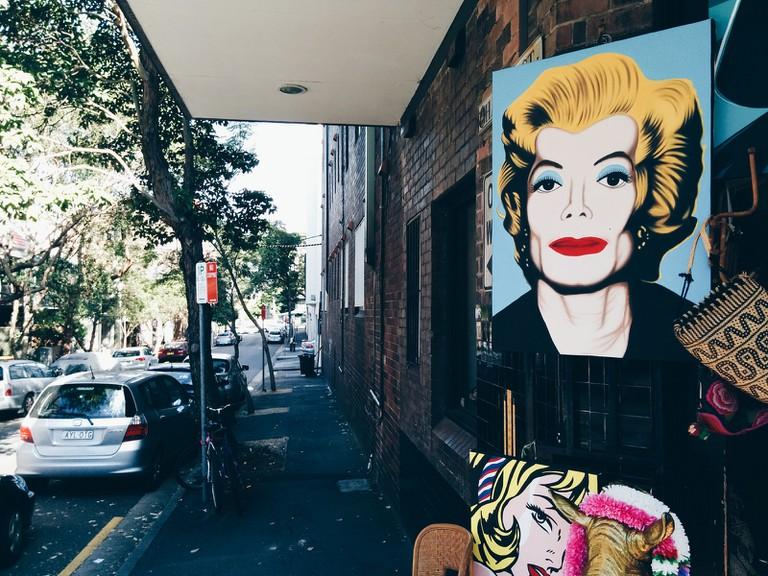 Contemporary art on a corner in Darlinghurst