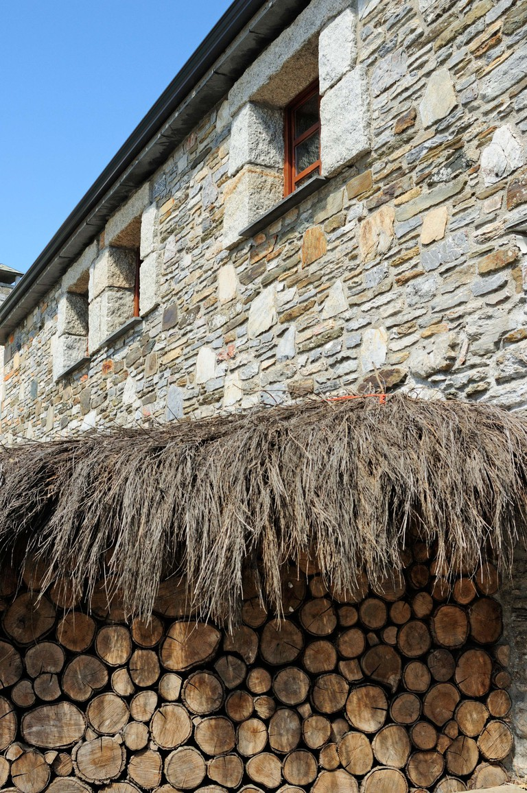 Woodshed in O Cebreiro, saint Jame´s way to Compostela. Galicia, Spain.