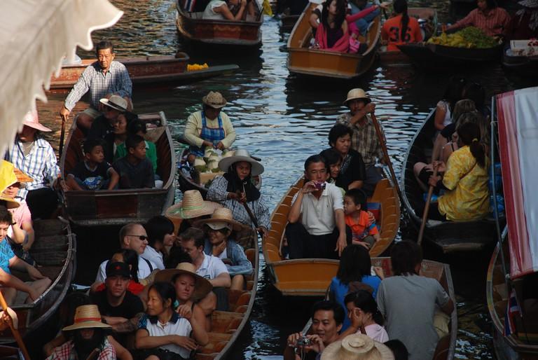 Tourist hotspot Damnoen Saduak floating market