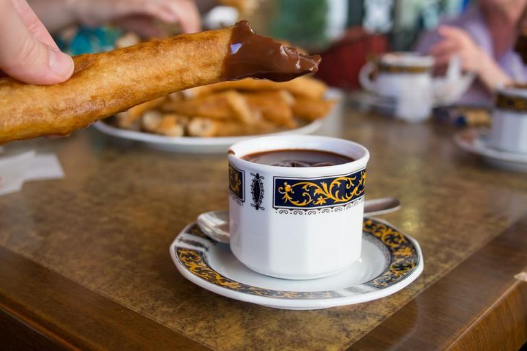 Churros and chocolate at cafe