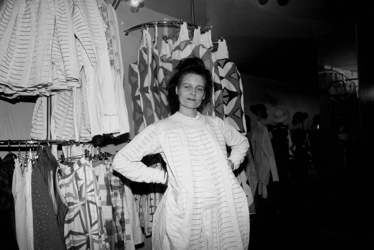 Vivienne Westwood in her Worlds End Shop in Chelsea, London 1981