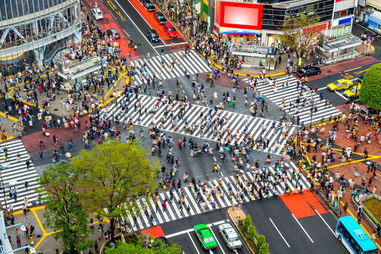 Tokyo, Japan view of Shibuya Crossing, one of the busiest crosswalks in the world.