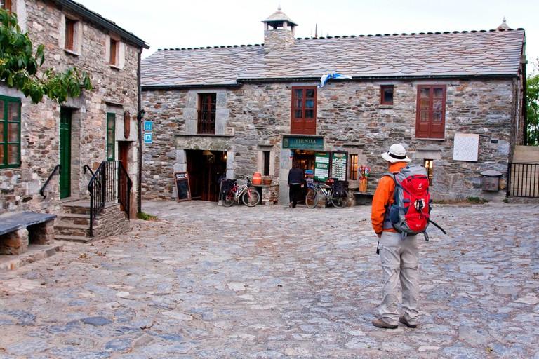 pilgrim in O Cebreiro, Spain, Galicia, Lugo, O Cebreiro