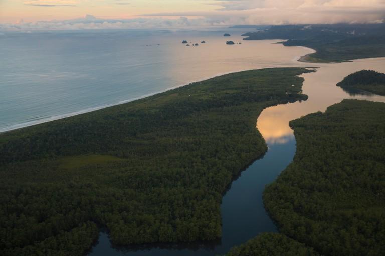 South America, Latin America, Colombia, nature, palms, beach, seashore, coast, sundown, evening, mood, Pacific, sea, Nuqui, Golfo