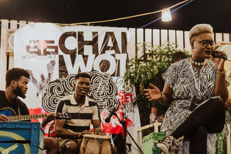 Maka of Nigeria performing at the LABs Acoustic Night – Chale Wote Street Art Festival, Accra, Ghana