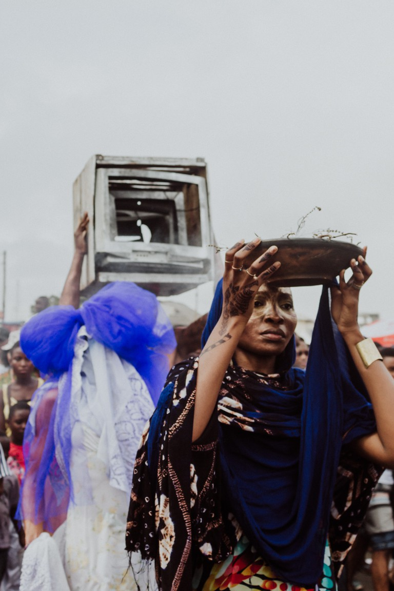 "Charlotte Brathwaite's ""within the sand and the sea: a meditation of lost and forgotten places and people"" – Chale Wote Street Art Festival, Accra, Ghana"