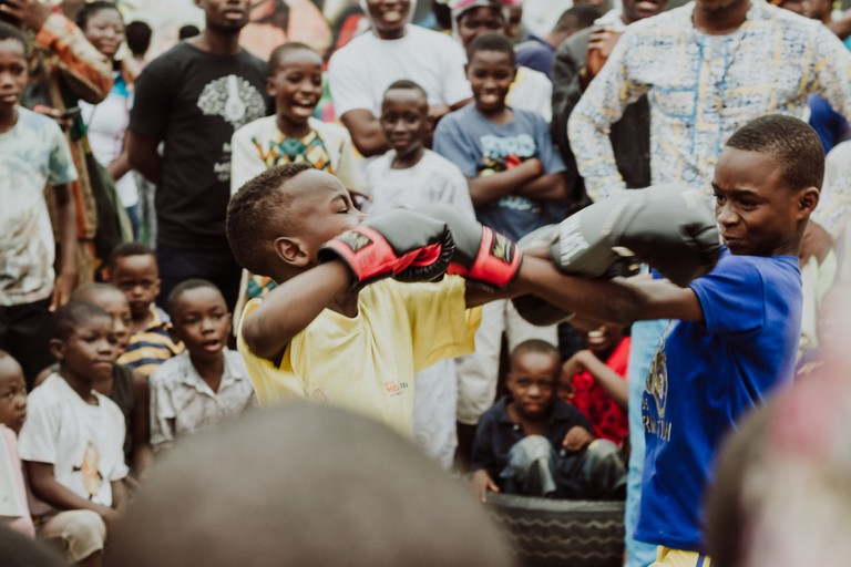 Juvenile boxing is one of the festival's big features – Chale Wote Street Art Festival, Accra, Ghana