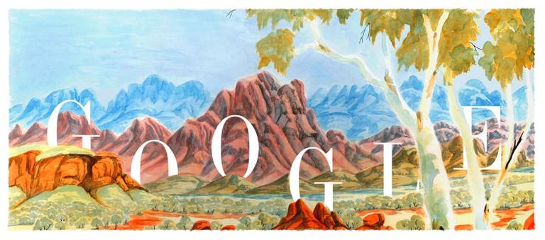 Google Doodle for Albert Namatjira's 115th birthday © Google