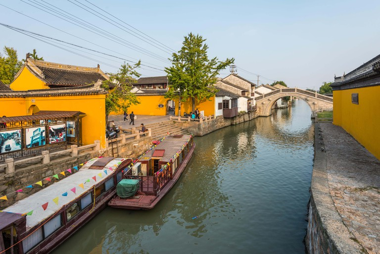 Suzhou old town canal and folk houses in Suzhou, Jiangsu, China