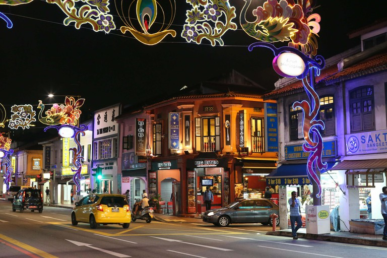 View of the street LIttle India with colorful decoration.