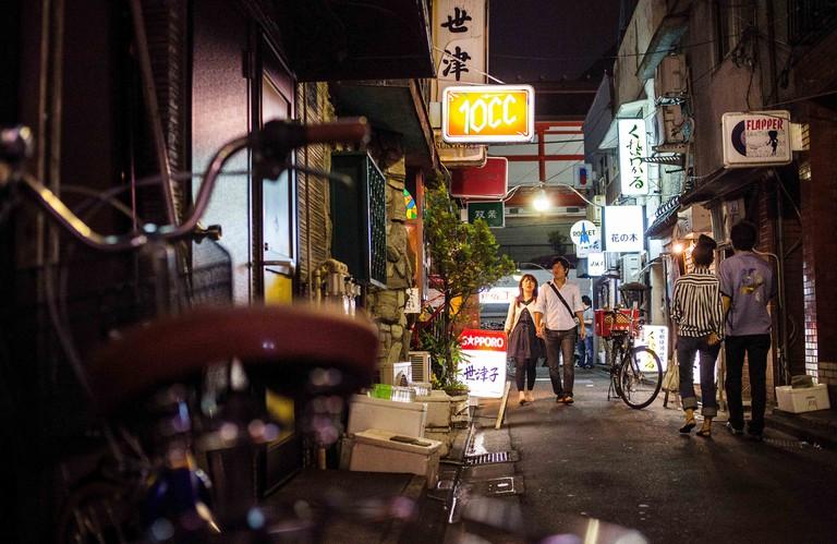 Golden gai alley at Shinjuku, Tokyo City, Japan, Asia.