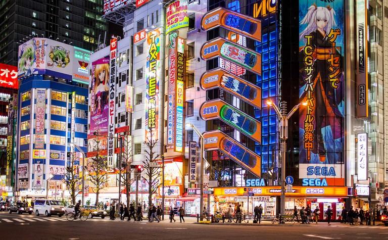 Townscape, Street scene, at Chuo Dori street, Akihabara, Tokyo, Japan.