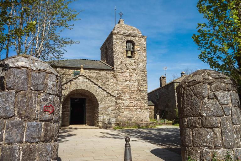 Exterior of the Church in the O Cebreiro, Spain. Camino de Santiago.
