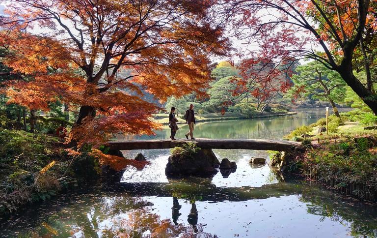 People walking at the Rikugien park in Tokyo