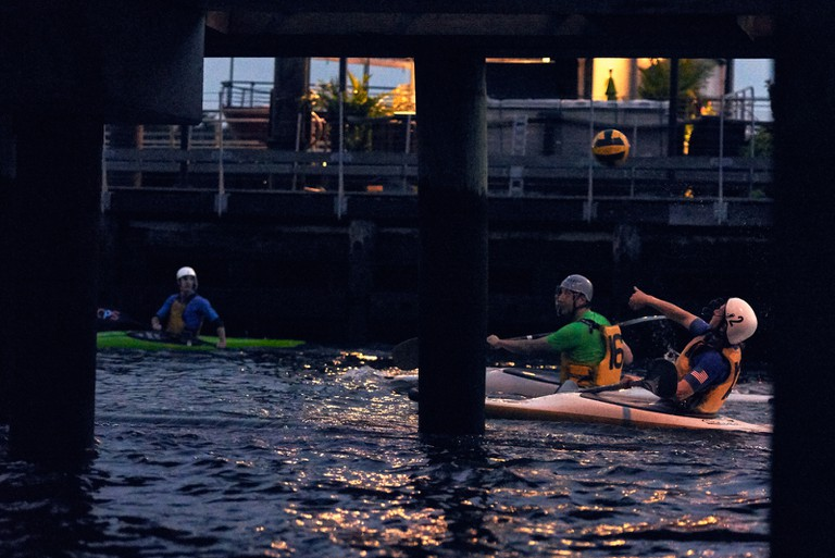 The Hudson River makes for a unique setting for the New York Kayak Polo club