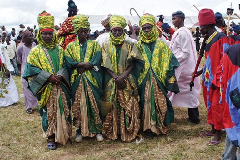 Hausa men in traditional attire