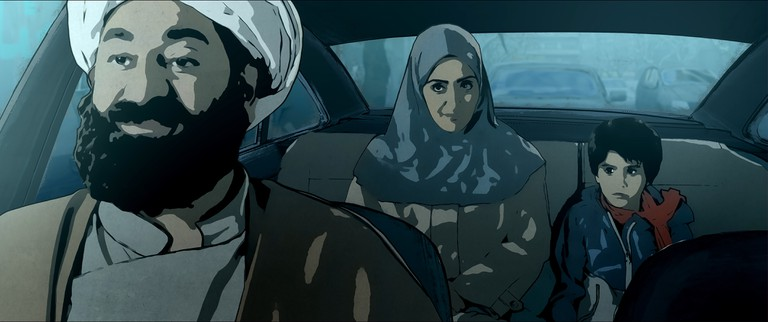Pari and Elias in a Car with the Judge