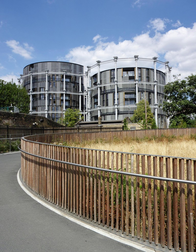 Gasholders, luxury canal side apartments in Kings Cross: London.