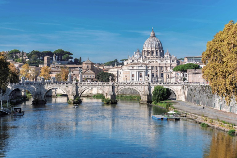 View of Vatican - St Peter Basilica at sunny autumn day, Rome Italy.