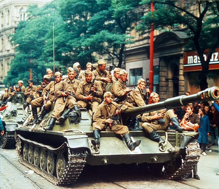 RUSSIAN TROOPS ON A TANK ROLL IN TO PRAGUE DURING THE CZECHOSLOVAKIA UPRISING UPRISING, PRAGUE, CZECHOSLOVAKIA -1968